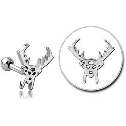 SURGICAL STEEL GRADE 316L TRAGUS MICRO BARBELL - REINDEER