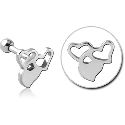 SURGICAL STEEL GRADE 316L TRAGUS MICRO BARBELL - HEARTS