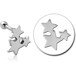 SURGICAL STEEL GRADE 316L TRAGUS MICRO BARBELL - STARS