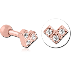 ROSE GOLD PVD COATED SURGICAL STEEL GRADE 316L JEWELED HEART TRAGUS MICRO BARBELL
