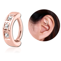 ROSE GOLD PVD COATED SURGICAL STEEL GRADE 316L JEWELED ROOK CLICKER