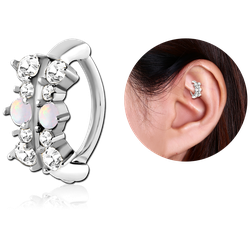 SURGICAL STEEL GRADE 316L JEWELED SYNTHETIC OPAL ROOK CLICKER - FILIGREE