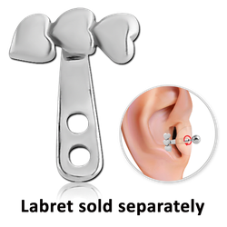 SURGICAL STEEL GRADE 316L TRAGUS WRAP - DOUBLE HEART