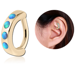 ZIRCON GOLD PVD COATED SURGICAL STEEL GRADE 316L SYNTHETIC OPAL ROOK CLICKER