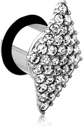 SURGICAL STEEL GRADE 316L JEWELED SINGLE RIDGED TUNNEL - PARALLELOGRAM